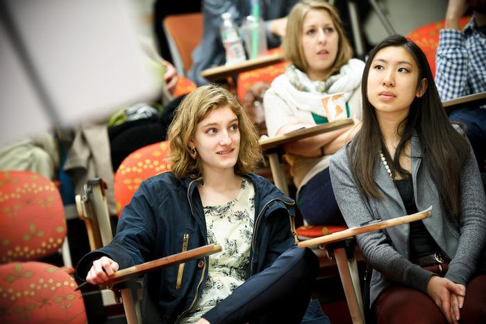 Jurors Emma Wilkinson '16 and Lisa Yang '17 listen to testimony. PHOTO: NANCY FORD