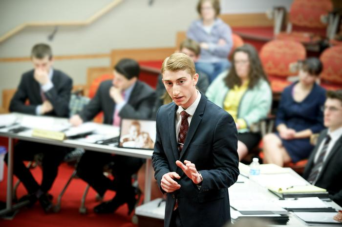Defense attorney Jason Driscoll '14 calls on a witness.  PHOTO: NANCY FORD