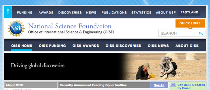 Claire Sayler '12 and Professor Barbara Tewksbury are shown conducting fieldwork in Egypt on the NSF OISE Web banner.
