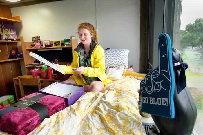 Sabrina Gattine '18, settles into her room in Major Hall.  PHOTO: REBECCA SHEETS