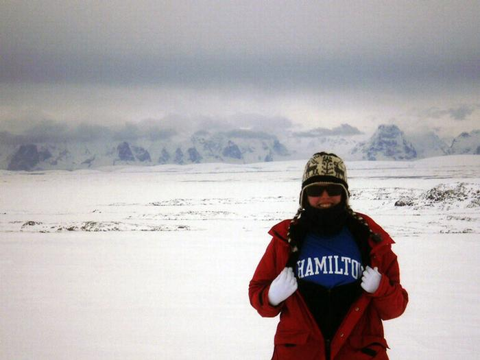 Katy Smith '13 shows off her Hamilton pride after a hike up to the top of a glacier on Anvers Island.
