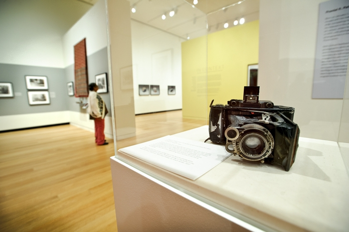 The camera used by Pralnlal Patel on display at the Wellin Museum exhibit. PHOTO: NANCY FORD