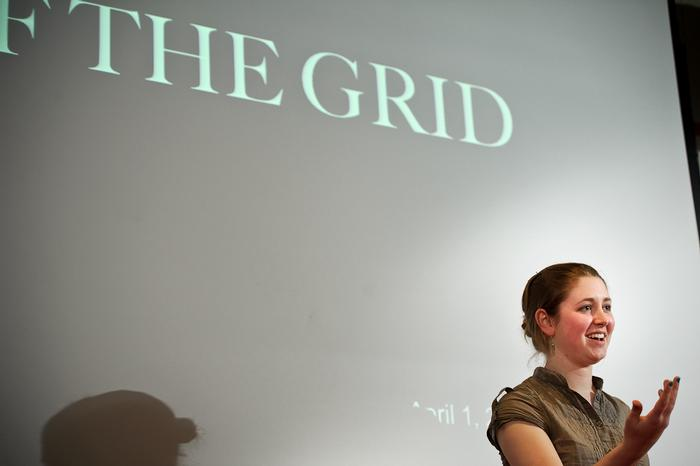 Clare Brown '12 answers judges' questions as she competes.  PHOTO: BY NANCY FORD