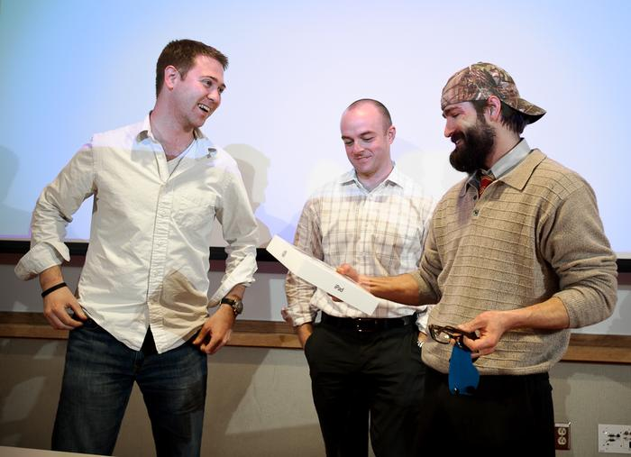 And the winners are...Kevin Bourque '05 (right) and Josh Kunkel '04 (center), with Mark Kasdorf '06 (left).  PHOTO: BY NANCY FORD