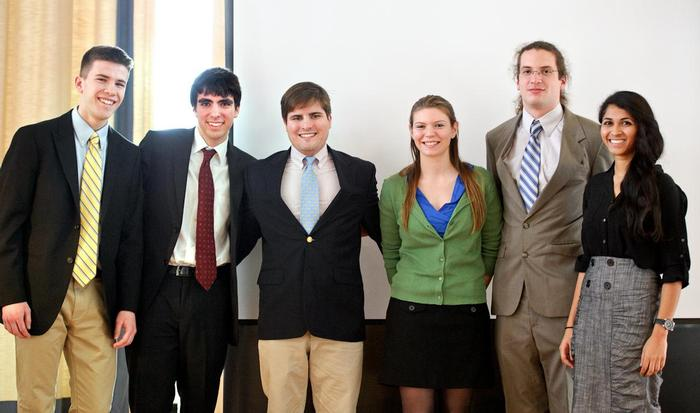 Public Speaking Competition winners Hunter Green '16, Jack Boyle '15, Daniel Lichtenauer '14, Mia Falzarano '13, Evan Van Tassell '13 and Sandhya Rao '15.