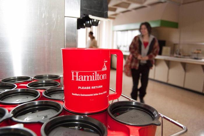 Red mugs in McEwen dining hall.