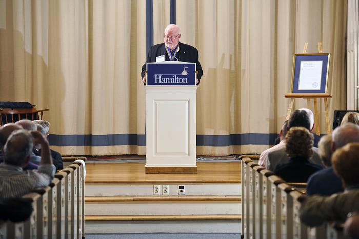 Sean K. Fitzpatrick '63 delivers the Half Century Annalist's Letter during the annual Alumni Association Meeting. PHOTO: BY NANCY L. FORD