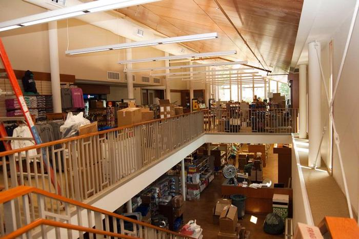 The upper level of the bookstore, with clothing and gift items.  PHOTO: BY J.D. ROSS