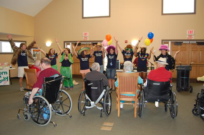 Performing for residents at Sitrin Health Care Center.