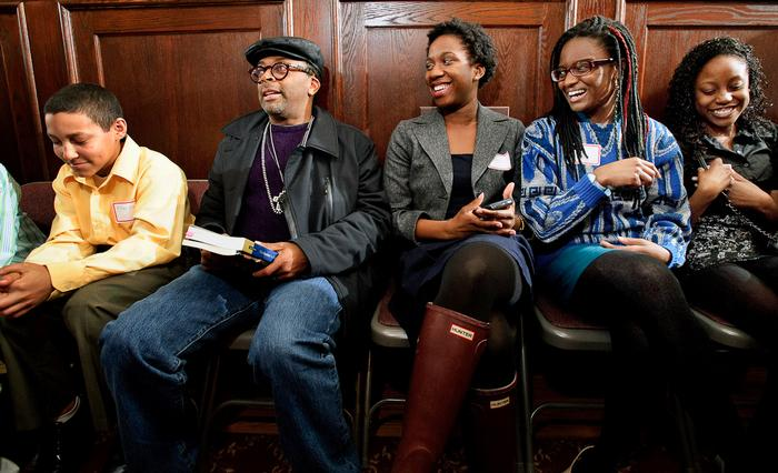 Spike Lee, second from left, visits with Hamilton students before his lecture. PHOTO: BY NANCY FORD