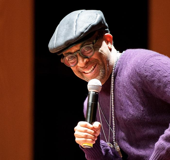 Spike Lee onstage in Wellin Hall. PHOTO: BY NANCY FORD