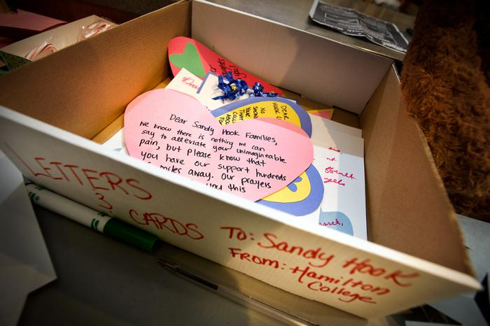 Students made cards to send to the survivors and families of victims of the Sandy Hook shootings. PHOTO: BY NANCY FORD