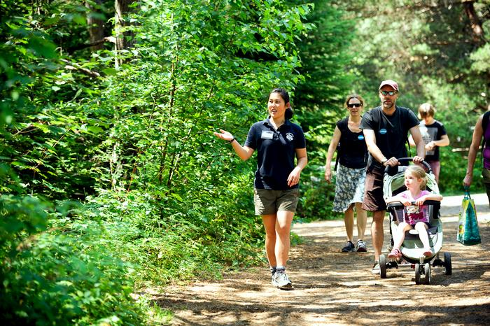 Tessler leads guests along the trails of The Wild Center in Tupper Lake. PHOTO: NANCY L. FORD