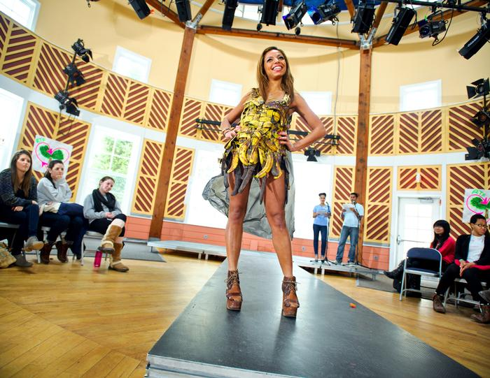 Designer McKenzie Foster '14 models a dress made out of banana peels. PHOTO: NANCY L. FORD