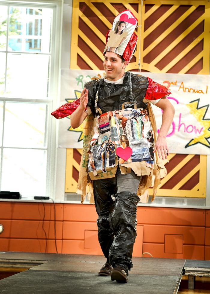 Will Boudreau '14 models during the Recycling Task Force's 2nd Annual Trashion Show. PHOTO: NANCY FORD