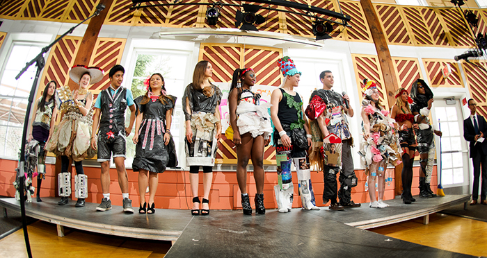 Models line up for the judging of the Recycling Task Force's 2nd Annual Trashion Show. PHOTO: NANCY FORD