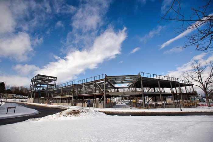 The new Theatre, Studio Arts complex under construction at Hamilton College on Feb. 11.
