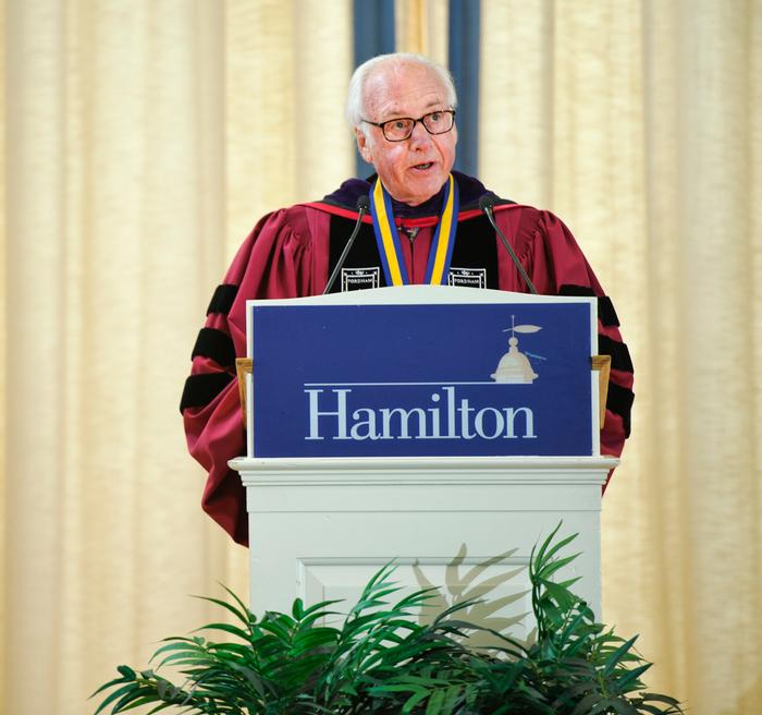 Thomas Schwarz '66, P '01, gave the address. PHOTO: BY NANCY L. FORD