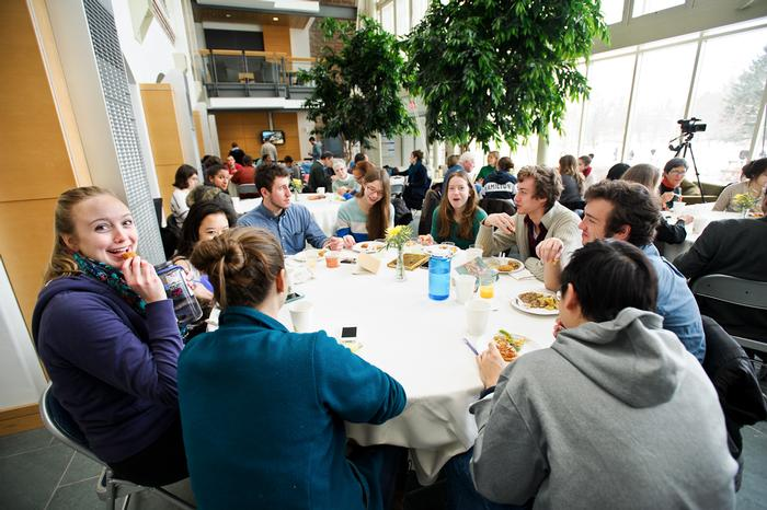 Faculty and students were treated to a Jamaica Breakfast which included ripe plantains and Johnny Cakes, in the atrium of the Taylor Science Center. PHOTO: NANCY L. FORD