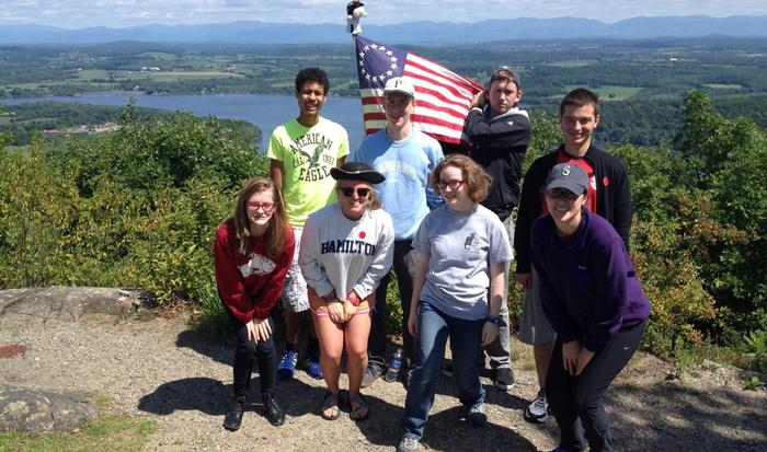Frontier warriors atop Mt. Defiance in Ticonderoga overlooking Fort Ticonderoga.