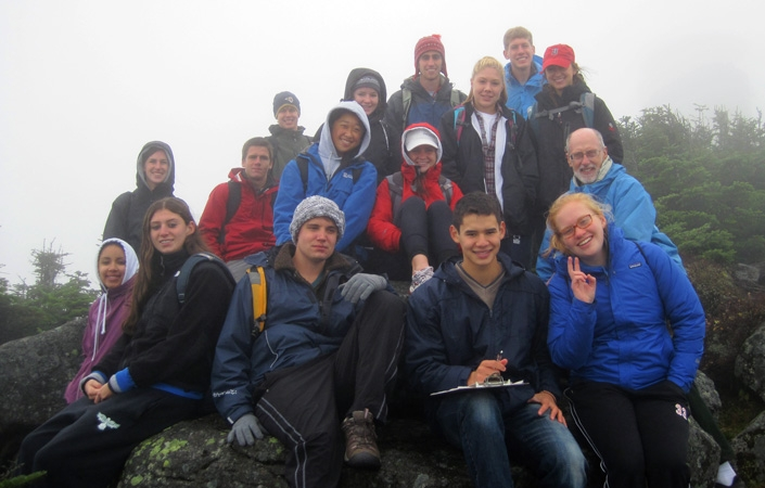 Ernest Williams' Environmental Studies class on their annual trip to Whiteface.
