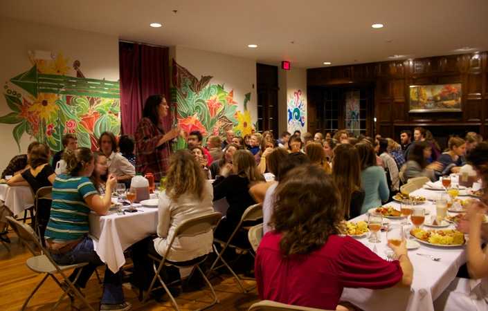 The student-run Co-Op hosted 80 people for an early Thanksgiving dinner.