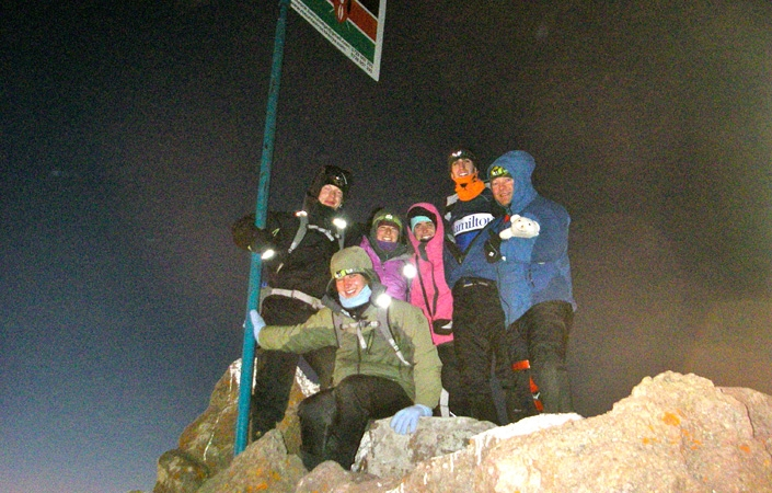 Five students took a Hamilton Outing Club trip to Kenya over winter break. Here, they are on the summit of Mt. Kenya.