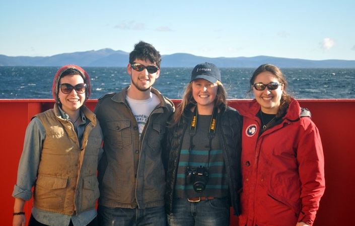Manique Talaia-Murray '12, Andrew Seraichick '13, Natalie Elking '12 and Elizabeth Bucceri '11 took part in the third cruise of the LARISSA Antartica expedition from March 7- April 15.