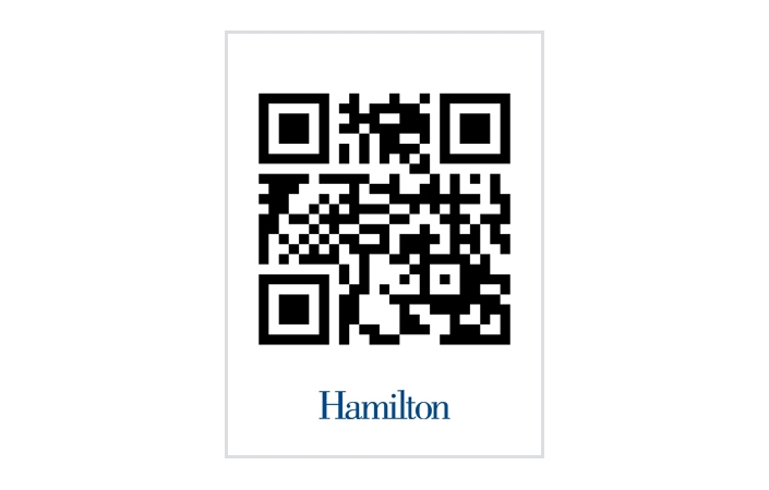 The Washington Post's College Inc. blog featured Hamilton's newest admission poster, a foot-square QR (quick response) code.