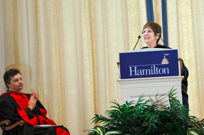 President Joan Hinde Stewart introduced speaker Thomas Schwarz '66.
