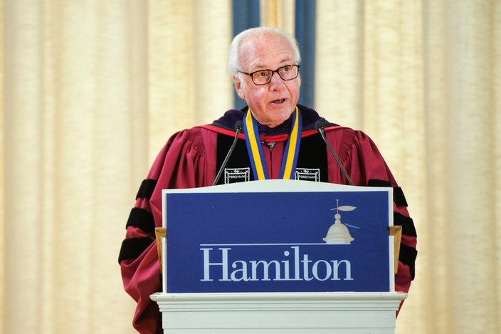 "Thomas Schwarz '66 gave the address titled ""Inconsequential."""