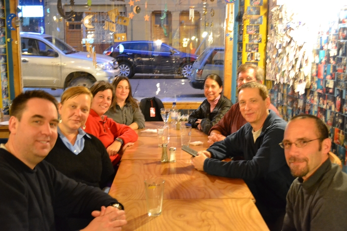 Special thanks to the principal investigators involved with the marine geology team, pictured here enjoying a dinner at La Luna, a favorite spot in Punta Arenas.