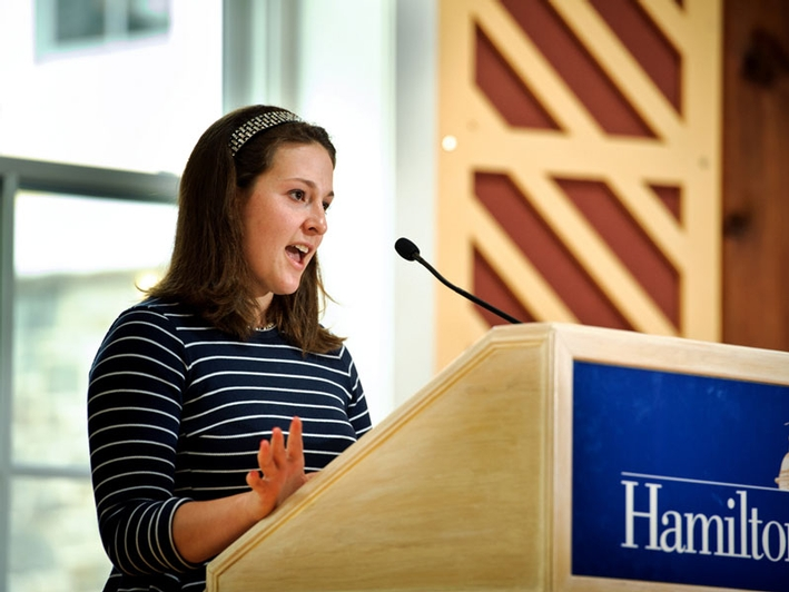 Sydney Wright-Schaner '13 reads a poem she wrote in the Fillius Events Barn. (PHOTO BY NANCY L. FORD)