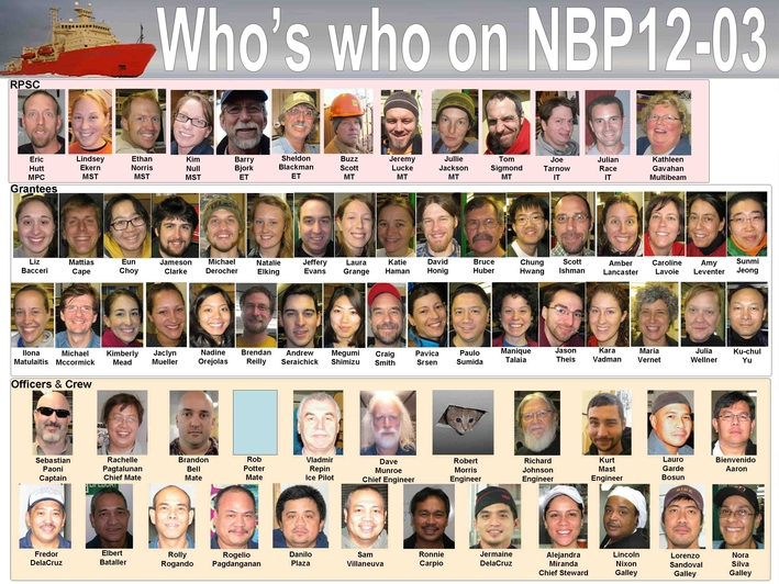 Faces of NBP12-03. Crew, scientists, marine technicians, electronic technicians, and galley staff!