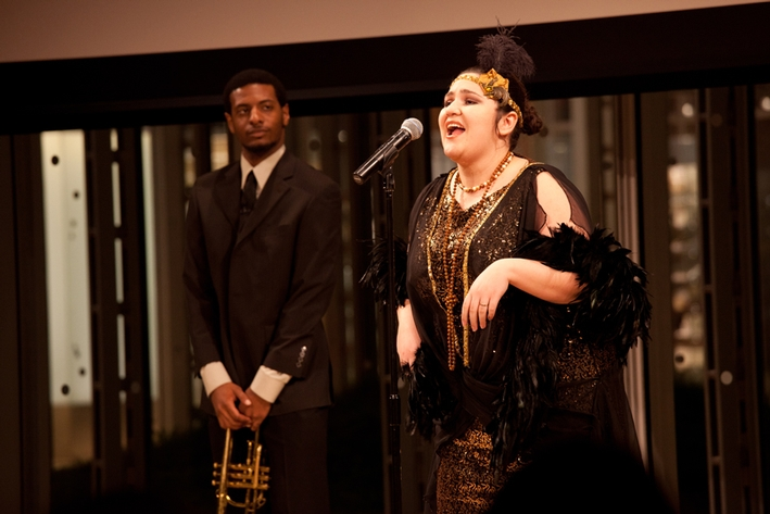Ileana Becerra '11 performed beautifully a song from <em>Ma Rainey's Black Bottom,</em> while KB Bennett '12 looked on