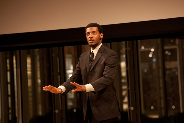 KB Bennett '12 captivated the audience with his performance of the signature monologue from <em>Ma Rainey's Black Bottom</em>