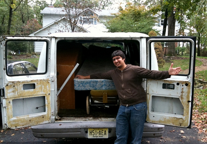 Jeff Naeem '09 and his classic work vehicle
