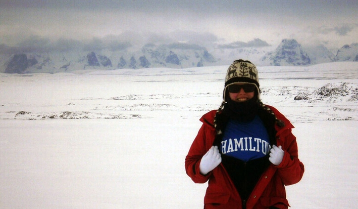 Katy Smith '13 shows off her Hamilton pride after a hike to the top of a glacier on Antarctica's Anvers Island.