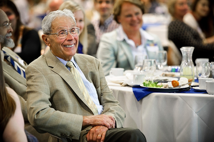 Ted Taylor '46 during the annual Comstock Luncheon.<br />Photo: Nancy L. Ford