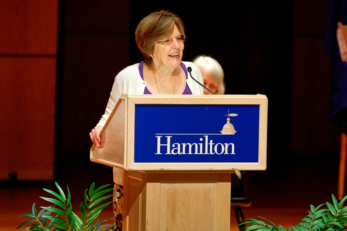 President Joan Hinde Stewart welcomes new students and parents to the Hamilton community.