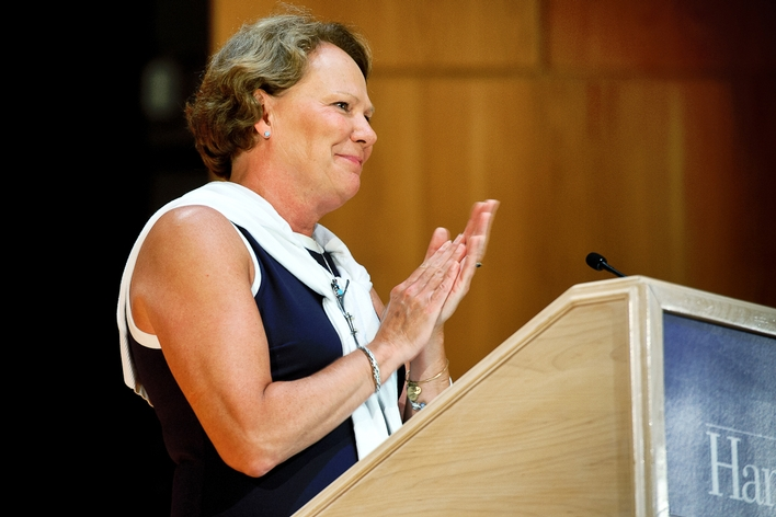 Dean of Students Nancy Thompson at the opening ceremony for Orientation at Wellin Hall.<br />Photo: Nancy L. Ford