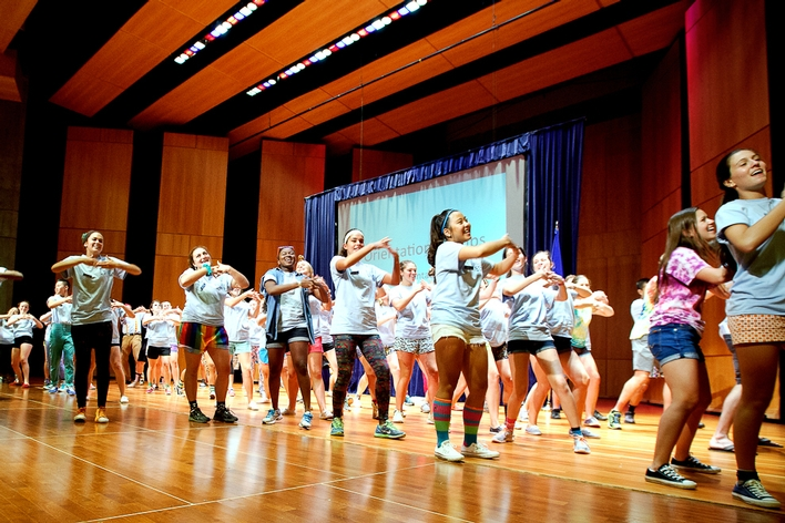 Orientation Leaders perform at the opening ceremony.<br />Photo: Nancy L. Ford