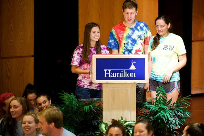 Orientation Coordinators Jen Lengvarsky &apos;16, Yani Najarian &apos;16 and Ted Nehrbas &apos;15.<br />Photo: Nancy L. Ford