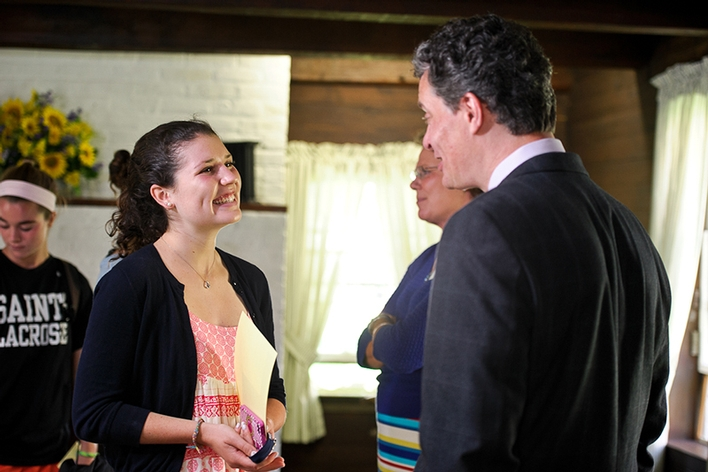 Annabel Sangree&apos;18 is chats with Dean of Faculty Patrick Reynolds.<br />Photo: Nancy L. Ford