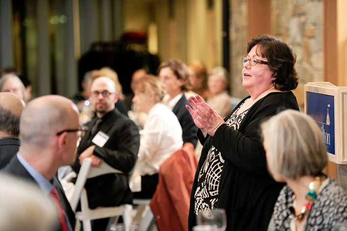 Theatre Professor Carole Bellini Sharp speaks at the donor recognition dinner.<br />Photo: Nancy L. Ford