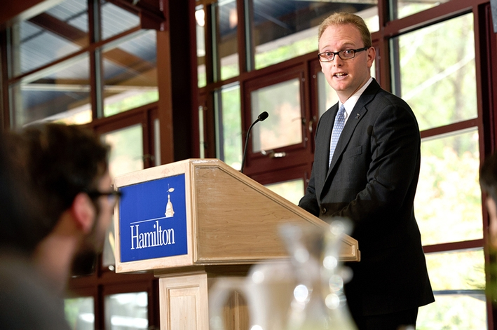 Director of Financial Aid Cameron Feist &apos;04 speaks during the Helen and Doane Comstock Luncheon.<br />Photo: Nancy L. Ford