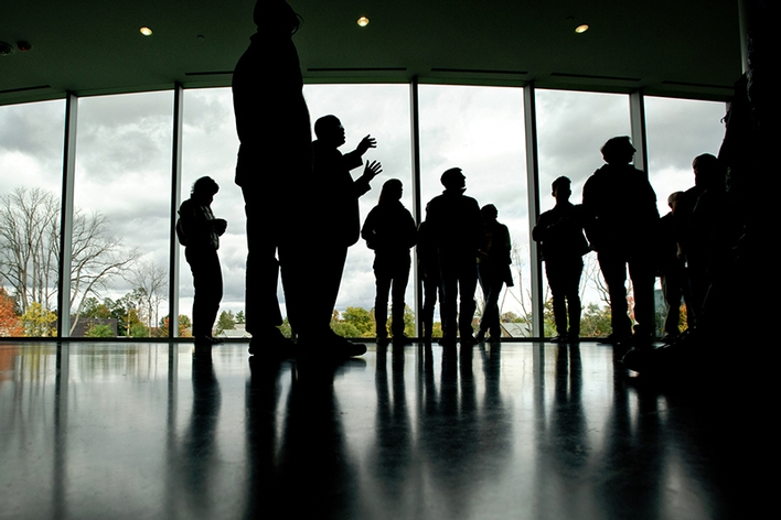 A silhouette of a tour group in The Kennedy Center.<br />Photo: Nancy L. Ford