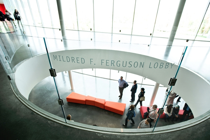 A view from the Mildred F. Ferguson Lobby down to the entrance of The Kennedy Center.<br />Photo: Nancy L. Ford