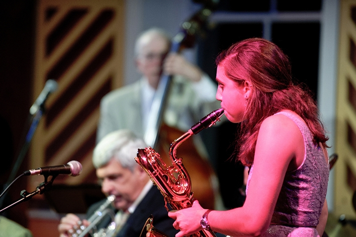 Deanna Nappi &apos;15 plays sax during a night of World Class Jazz in the Fillius Events Barn.<br />Photo: Nancy L. Ford