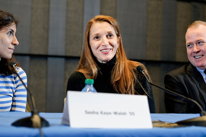 Rachel Weinstein &apos;93 speaks at the &quot;Making Art Happen: Alumni Career Panel.&quot;<br />Photo: Rebecca L. Sheets